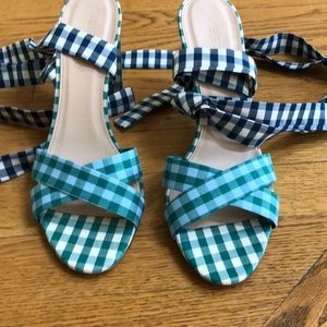 Never worn jcrew tie wrap plaid heels size 10